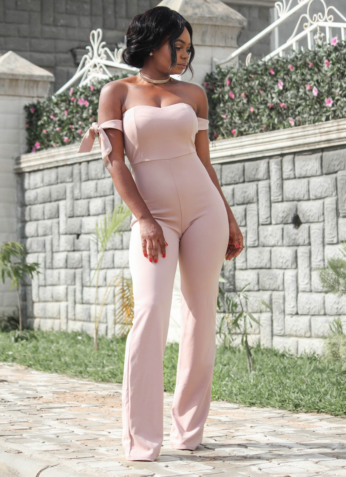 NUDE JUMPSUIT - HotMiamiStyles Blushed Nude Off Shoulder Tie Knot Jumpsuit