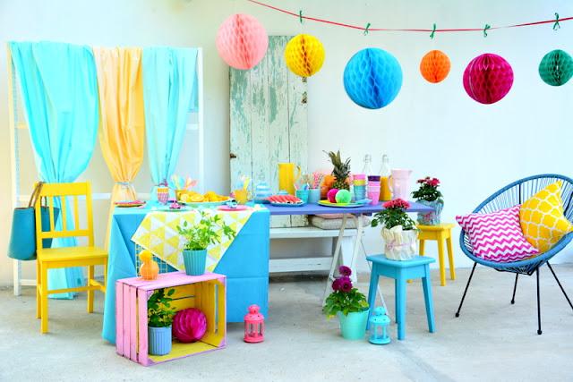 Happy place - kolorowa aranżacja przyjęcia. Slow life.