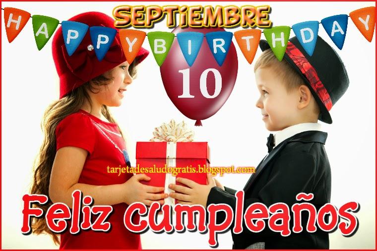 Tarjeta de feliz cumpleaños del 10 de septiembre