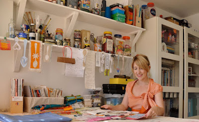 Maria Thomas at work in her studio