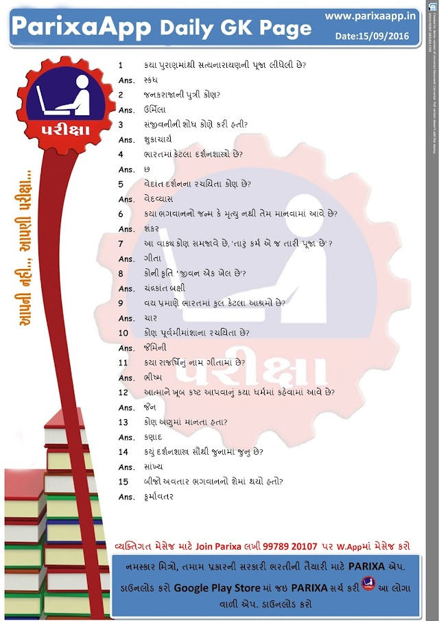 PARIXAAPP DAILY GK PAGE DATE: 15/09/2016