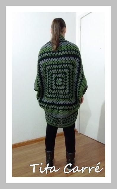 Casacão com 1 único Square em crochet