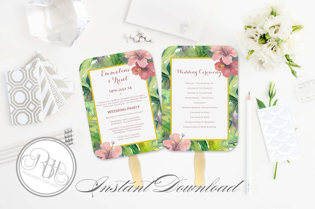 tropical island watercolour ceremony program template by rbh designer concepts