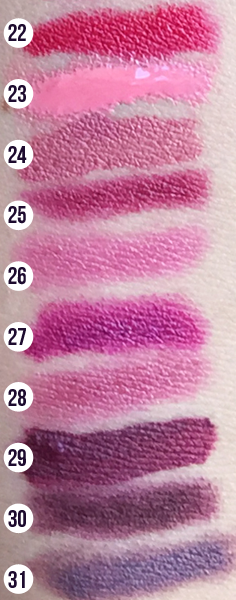 Pink & Purple Lipstick Swatches Comparison  | 31 Days of Lipstick (Crappy Candle)