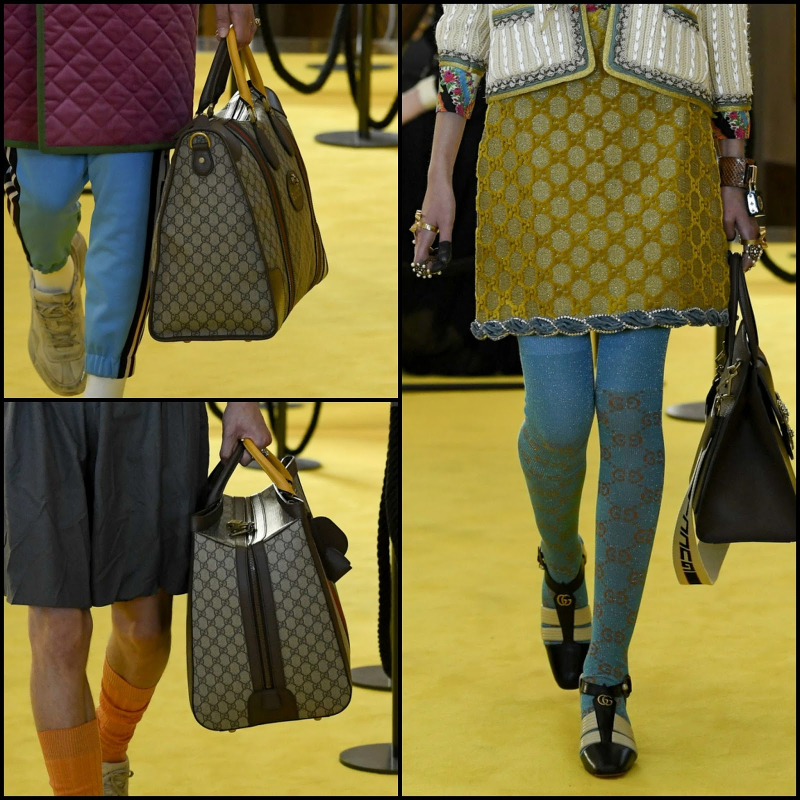 325f977e7 GG Love: Gucci-brnaded maxi tote bags, stockings, dresses--Gucci Resort 2018