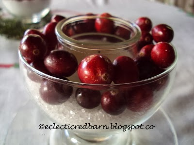 Eclectic Red Barn: Adding fresh cranberries to candle centerpiece