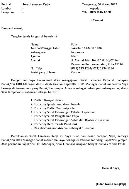 Dokumen Pekerjaan Contoh Surat Lamaran Kerja Kurir