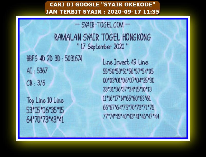 Kode syair Hongkong Kamis 17 September 2020 258