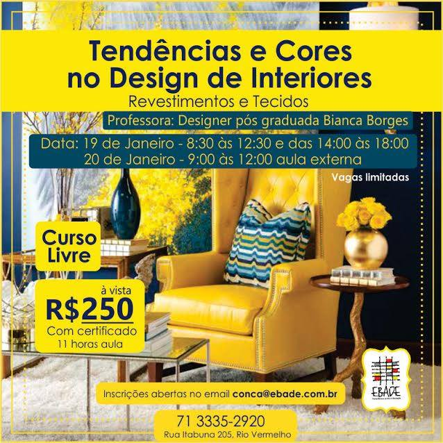 Curso de tend ncias e cores no design de interiores for Curso de design de interiores no exterior