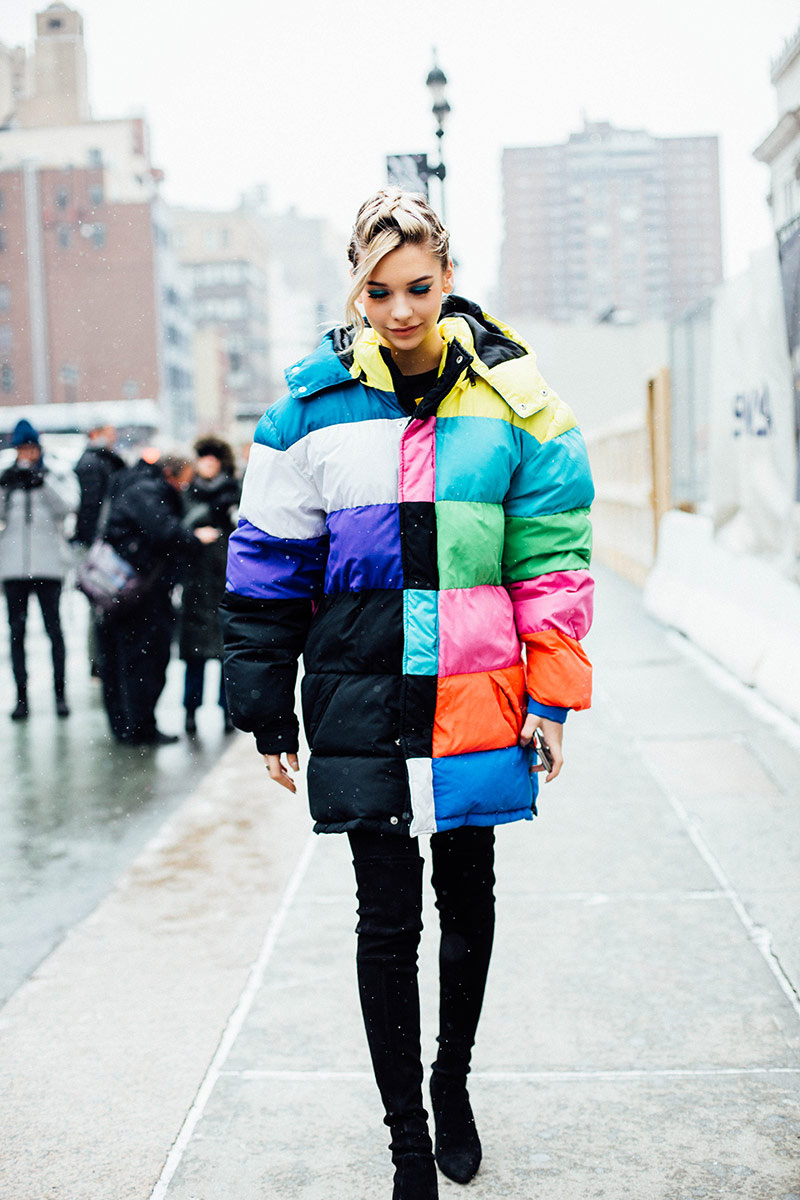 Rainbow Puffer Jacket Coat Style