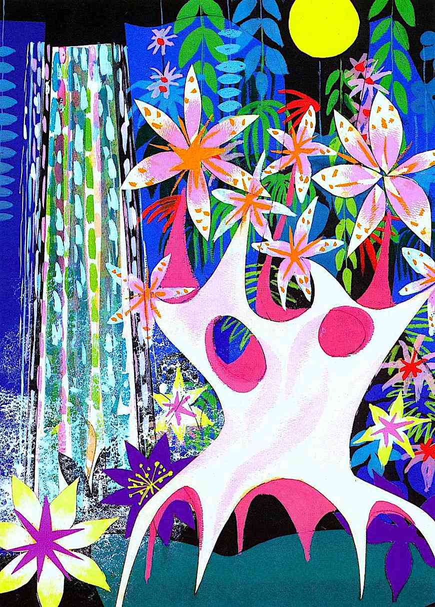 a Mary Blair waterfall illustration