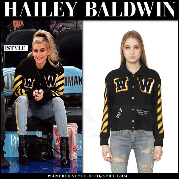 Hailey Baldwin in black yellow varsity jacket what she wore model style