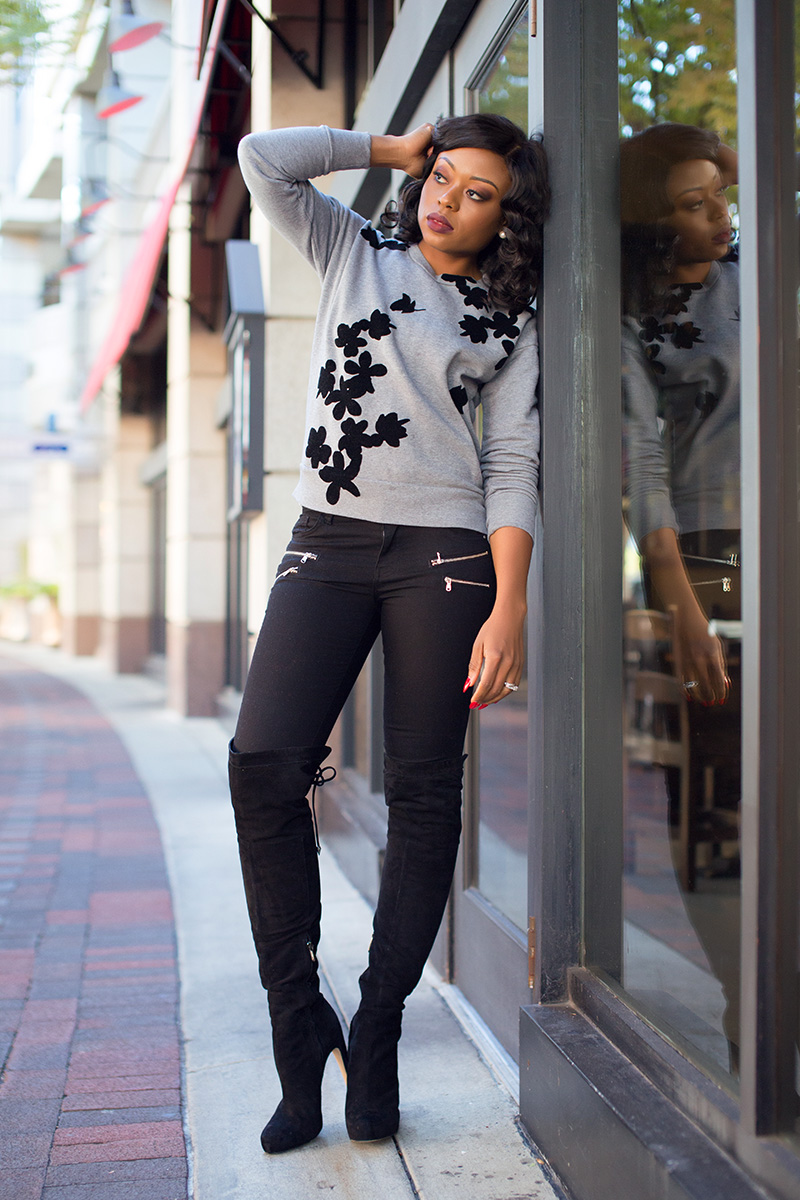 Casual weekend look, sam edelman over the knee boot, www.jadore-fashion.com