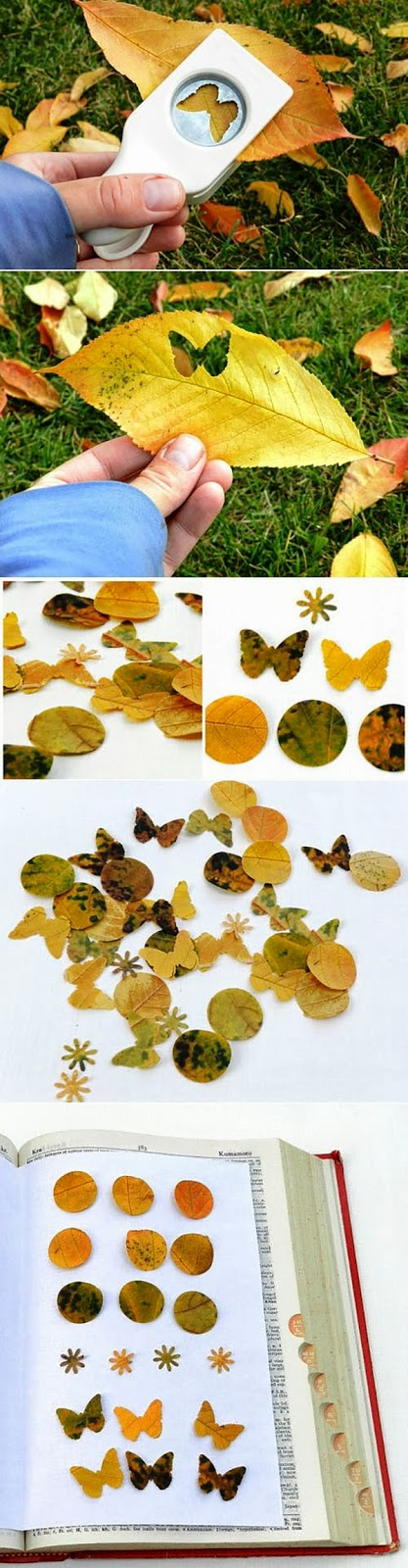 Craft Punched Leaves to create art for Autumn. I love these Martha Stewart Craft Punches, as long as the edges are kept sharp, they can cut through strong Fall leaves that would be excellent for creating a little mini art journal or scrapbook for kids.