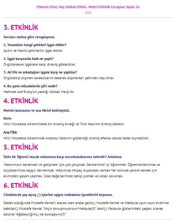 Efelerin Efesi Hey Gidinin Efesi Metni Cevapları 4. Sınıf Türkçe Sayfa 56