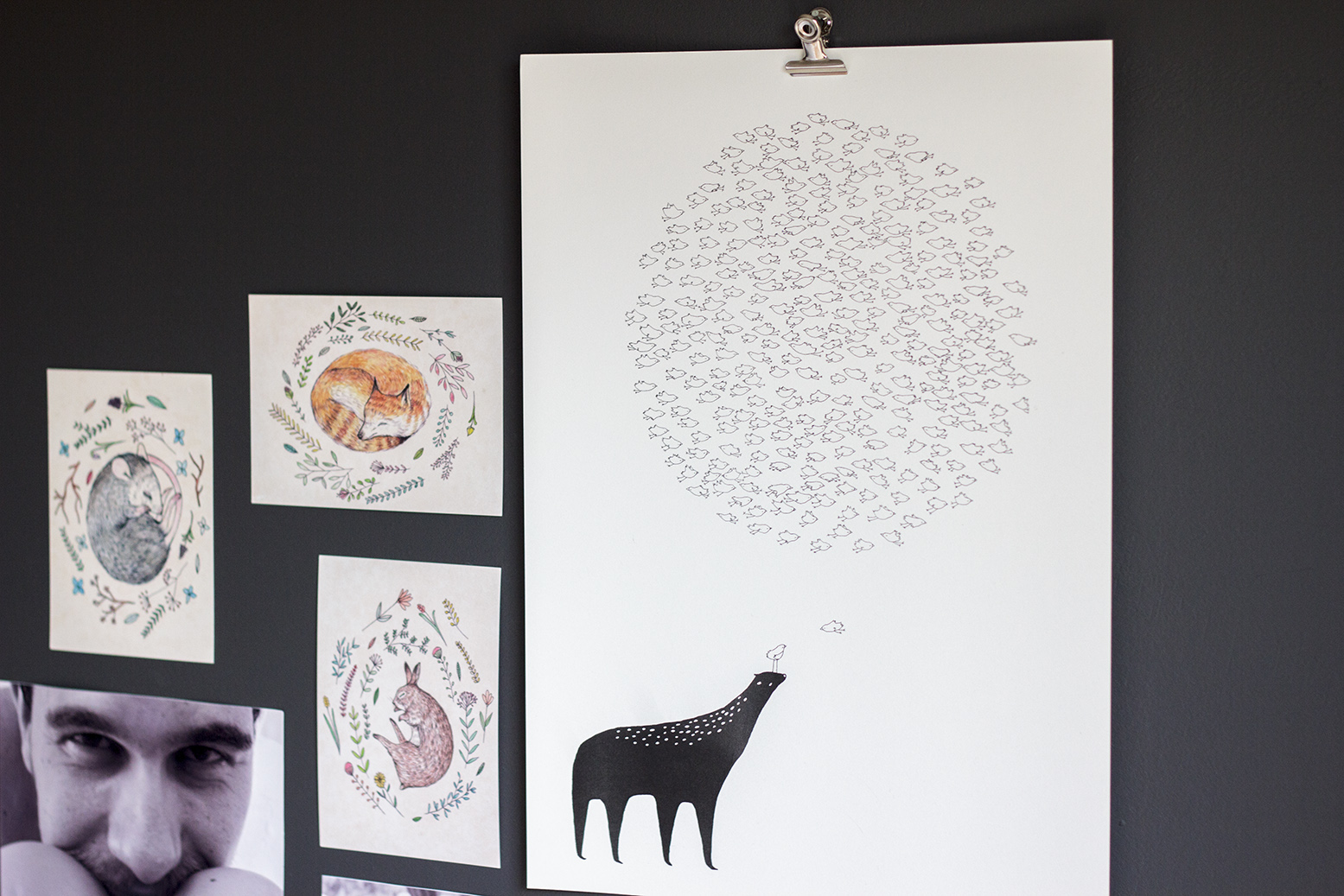 Majasbok bird cloud print