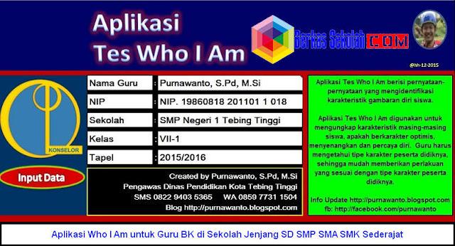 Download Aplikasi Who I Am untuk Guru BK di Sekolah Jenjang SD SMP SMA SMK Sederajat