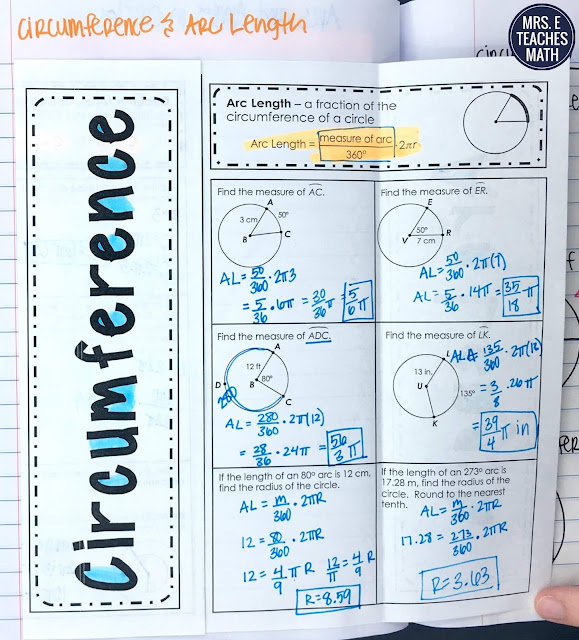 circumference and arc length foldable for geometry interactive notebook