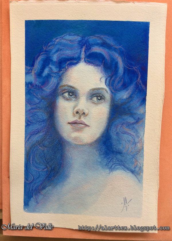Watercolor and colored pencils portrait girl 1