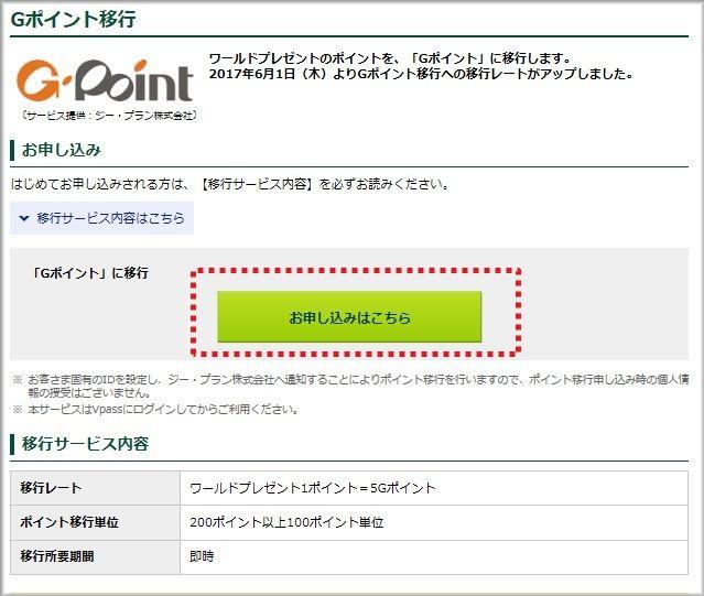 Gポイント移行の画面で「お申し込みはこちら」をクリック