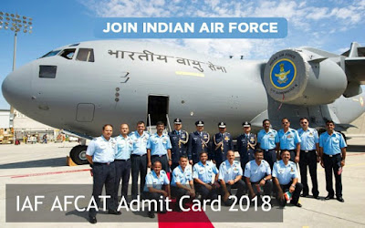 Indian Airforce AFCAT 01/2018 Re Exam Admit Card