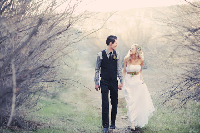 bride+groom+bridal+dress+gown+floral+hair+wreath+rustic+woodland+ecofriendly+eco+friendly+green+emerald+color+of+the+year+pantone+cake+dessert+table+reception+centerpiece+blue+hipster+fall+autumn+gideon+photography+10 - Woodland Fairytale