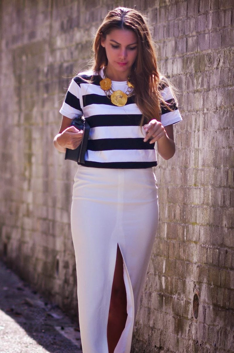 Simona Mar Monochrome Stripes Amp Gold Statement Necklace