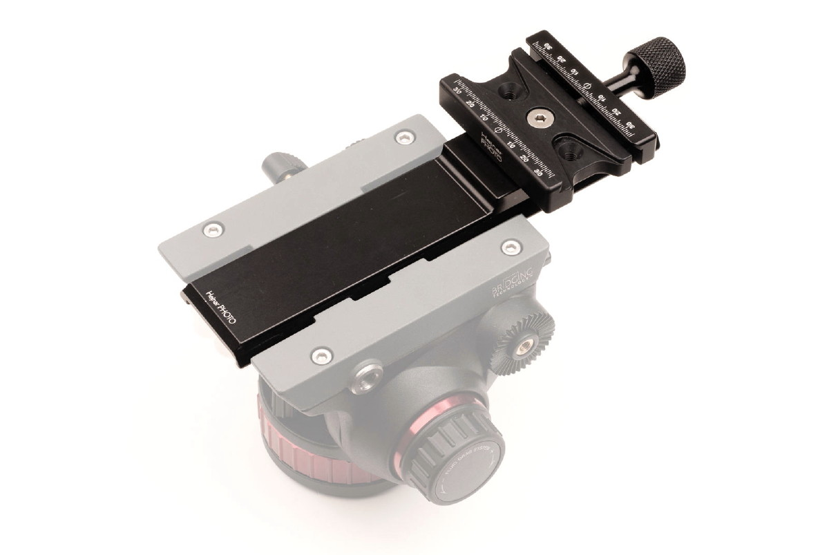 Hejnar PHOTO M577-875 plate w/ F63b QR clamp on Manfrotto 502 VH