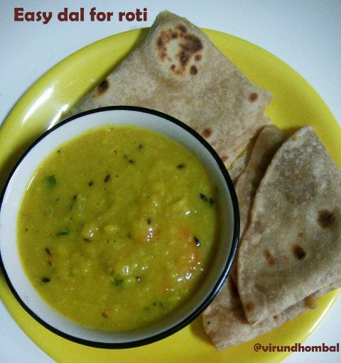 Easy Dal for Roti | How to prepare Easy Dal for Roti with step by step instructions | Dal recipes | Easy dal is a healthy side dish for roti within 20 minutes. This healthy dal includes moong dal, few vegetables, mashed garlic cloves and lots of cumins. It's a comfortable dish for your dinner with roti. This dal is healthier than store bought ready mix packs and easier too.