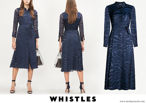 Princess Eugenie wore WHISTLES Francine devoré zebra-pattern dress