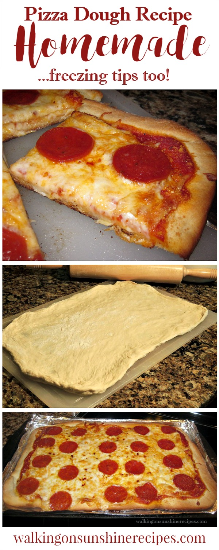 Homemade Pizza Dough Recipe for pepperoni mozzarella cheese pizza from Walking on Sunshine Recipes