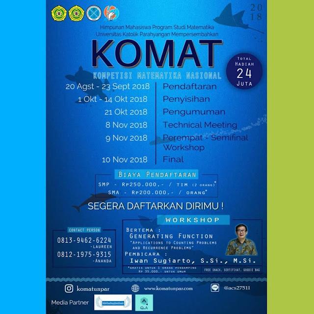 Kompetisi Matematika Nasional (KOMAT) 2018 di Bandung
