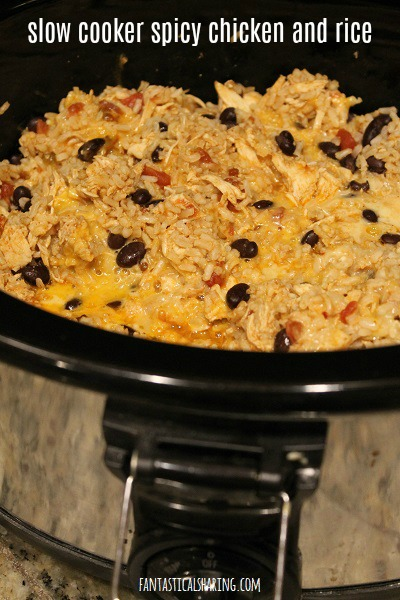 Slow Cooker Spicy Chicken & Rice #recipe #chicken #slowcooker #crockpot #rice #maindish
