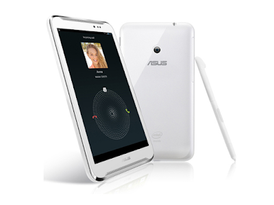 Asus Fonepad Note FHD6 Specifications - LAUNCH Announced 2013, June  Also known as Asus Fonepad Note 6 ME560CG DISPLAY Type IPS+ LCD capacitive touchscreen, 16M colors Size 6.0 inches (~67.8% screen-to-body ratio) Resolution 1080 x 1920 pixels (~367 ppi pixel density) Multitouch Yes, up to 10 fingers BODY Dimensions 164.8 x 88.8 x 10.3 mm (6.49 x 3.50 x 0.41 in) Weight 210 g (7.41 oz) SIM Micro-SIM  - Stylus PLATFORM OS Android OS, v4.2 (Jelly Bean), upgradable to v4.4.2 (KitKat) CPU Dual-core 2.0 GHz Chipset Intel Atom Z2580 GPU PowerVR SGX544MP2 MEMORY Card slot microSD, up to 64 GB (dedicated slot) Internal 16/32 GB, 2 GB RAM CAMERA Primary 8 MP, autofocus Secondary 1.2 MP, 720p Features Geo-tagging Video 1080p@30fps NETWORK Technology GSM / HSPA 2G bands GSM 850 / 900 / 1800 / 1900 3G bands HSDPA 850 / 900 / 1900 / 2100 / 700 Speed HSPA 42.2/5.76 Mbps GPRS Class 10 EDGE Class 10 COMMS WLAN WLAN Wi-Fi 802.11 a/b/g/n, dual-band, Wi-Fi Direct, hotspot NFC Yes GPS Yes, with A-GPS, GLONASS USB v2.0 Radio No Bluetooth v3.0, A2DP, EDR FEATURES Sensors Accelerometer, proximity, compass Messaging SMS(threaded view), MMS, Email, Push Mail, IM Browser HTML5 Java No SOUND Alert types Vibration; MP3, WAV ringtones Loudspeaker Yes, with stereo speakers 3.5mm jack Yes BATTERY  Non-removable Li-Po 3200 mAh battery (15 Wh) Stand-by Up to 490 h (2G) / Up to 334 h (3G) Talk time Up to 23 h Music play  MISC Colors White, Black  - ASUS WebStorage (5 GB storage) - MP3/WAV/WMA/AAC player - MP4/H.264 player - Document editor - Photo viewer/editor