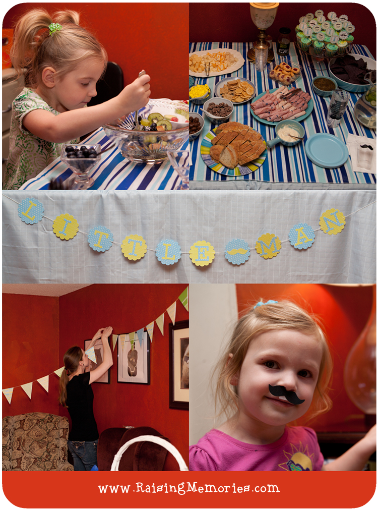 Use your Cricut to cut out an adorable Little Man Banner for a baby shower