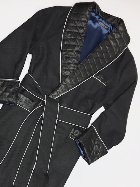 Long Black Wool Men S Dressing Gown With Quilted Silk Collar