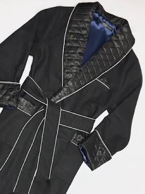 mens long wool dressing gown warm luxury robe quilted silk collar gentleman smoking jacket style