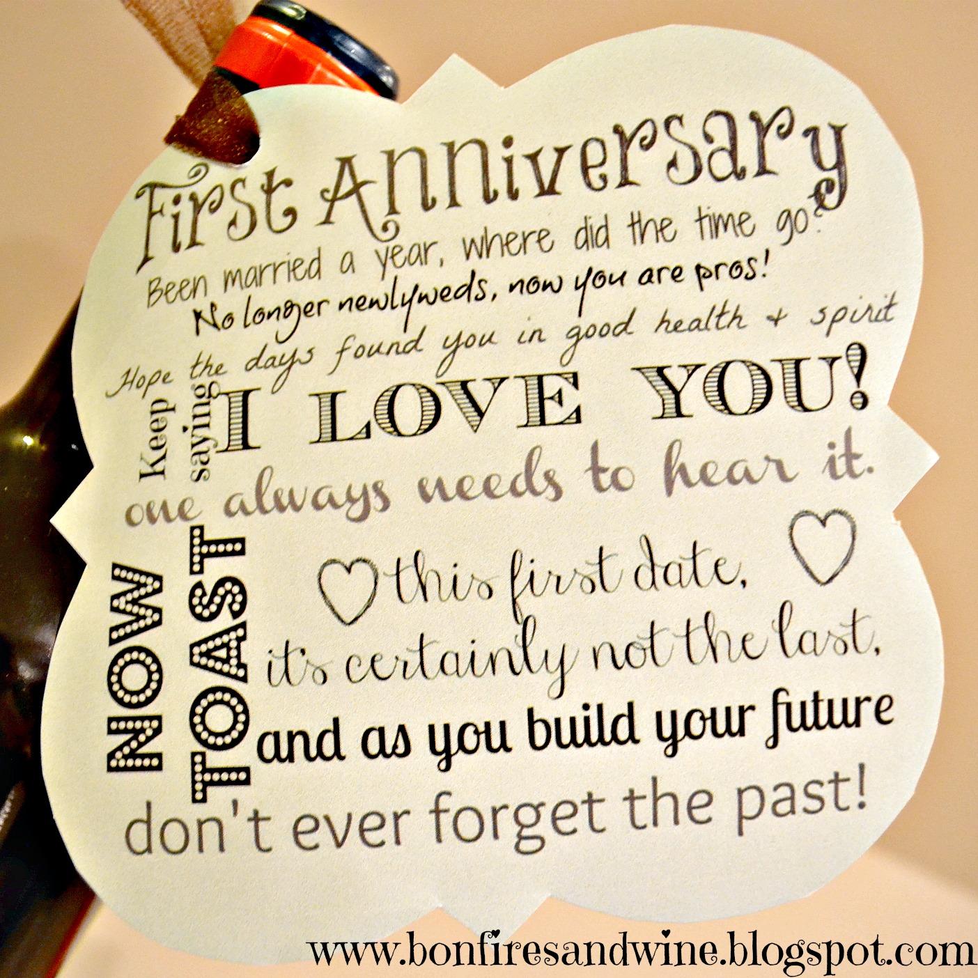 1st Year Wedding Anniversary Gifts: Bonfires And Wine: DIY Wine Wedding Gift