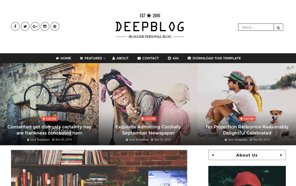 Deep Blog Responsive Blogger Template