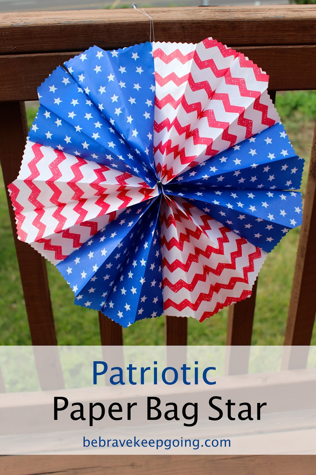 Be brave keep going easy patriotic paper bag star craft for Americana crafts to make
