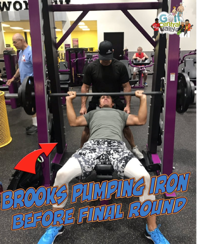 Brooks Koepka pumping iron