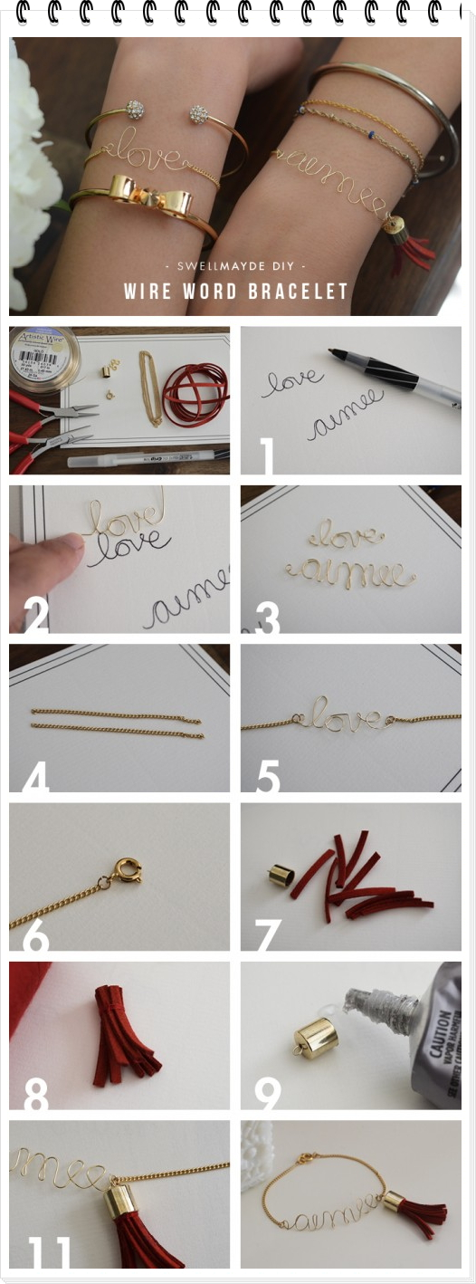 pulsera, brazalete, alambre, diys, nombre, bisutería