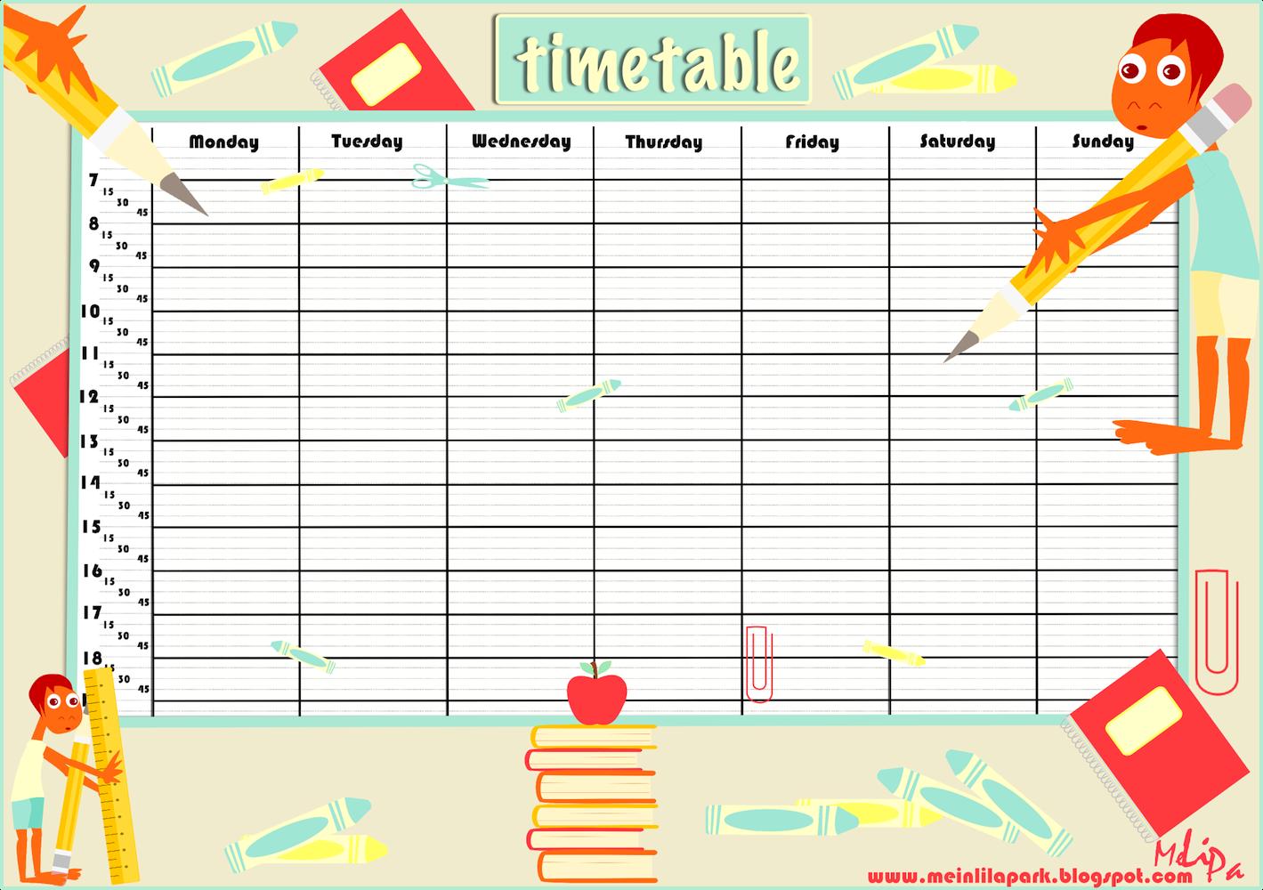 Free Printable School Timetable And School Scrabpooking Embellishment