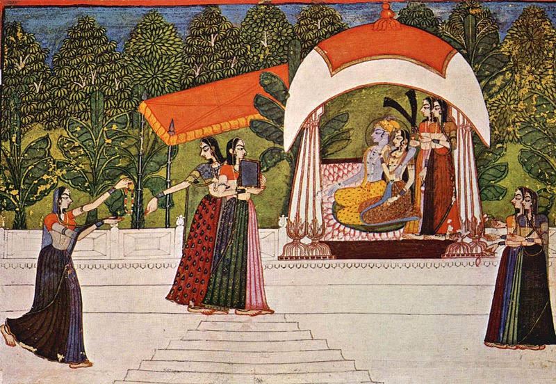 Traditional miniature painting 'Krishna and Radha' by Nihâl Chand, used under creative commons license, Art in Interiors, Art Scene India