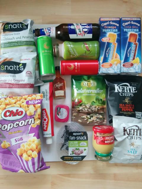 Degustabox, Snatt's, Chio Popcorn, Kettle Chips, Sport 1 Fan-Snack, Senf, Capri-Sonne Freezies, 28 Black Sour,