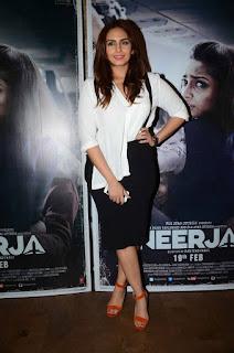 Actress Huma Qureshi Latest Stills in Black Short Skirt at Neerja Movie Screening  0003