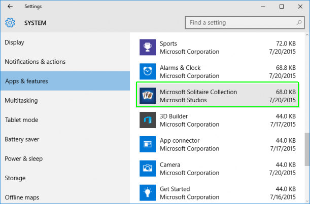 tampilan daftar pengaturan aplikasi Windows 10