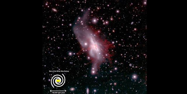 A pseudo-color image of NGC 6240 taken with Suprime-Cam at the Subaru Telescope. Blue, green, and red colors are attributed to the B-band, R-band, and H-alpha (emission line from ionized hydrogen gas) images, respectively. The giant ionized gas blown out from the galaxy is seen in red. Click the figure to jump to the larger image of the central region. (Credit: Hiroshima University / NAOJ)