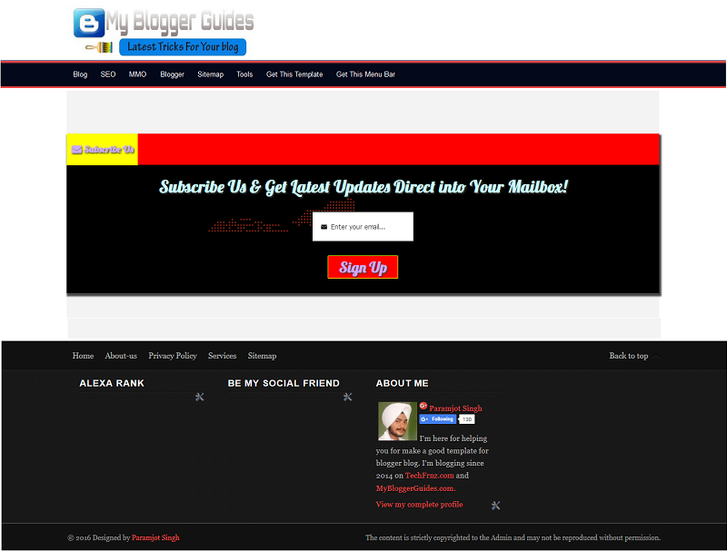 MBG Subscribe Us Blogger Template for Subdomain Users
