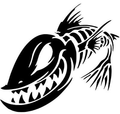 Gambar Stiker Motor Lucu Keren Terbaru Stripping Ikan Piranha Gokil